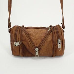 Vintage Mini Leather Zip Open Tiny Duffel Bag